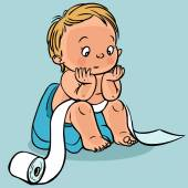 Cute cartoon baby in the toilet.Vector illustration — Vettoriale Stock