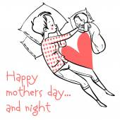 Funny cartoon mothers day card. vector illustration — Stockvektor