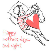 Funny cartoon mothers day card. vector illustration — Vetor de Stock