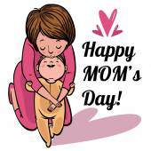 Funny cartoon mothers day card. vector illustration — Vector de stock