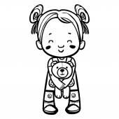 Funny vector cartoon girl with teddy-bear. Vector illustration — Stock Vector