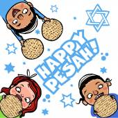 Funny Happy Jewish Passover greeting card. Vector illustration — Stock Vector