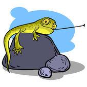Funny cartoon lizard. Vector illustration — Stock Vector