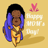 Funny cartoon mothers day card. vector illustration — Cтоковый вектор