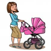 Funny cartoon mother with baby stroller. Vector illustration — Stock Vector