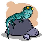 Funny cartoon lizard. Vector illustration — 图库矢量图片