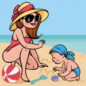 Funny cute cartoon baby and mom playing on the beach.Vector illu — Stock Vector