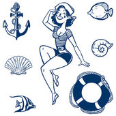 Vector sea icon set. Set of nautical design elements — Stock Vector