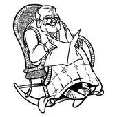 Funny cartoon granddad. vector illustration — Stockvektor
