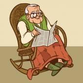 Funny cartoon granddad. vector illustration — Stock Vector
