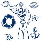 Vector sea icon set. Set of nautical design elements — Stock Vector