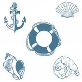 Vector set of sea elemants — Stock Vector