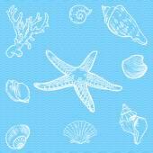 Vector set of sea fauna — Stock Vector