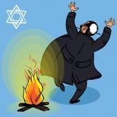 Happy Lag Baomer. Jewish holiday card. vector — Stock Vector