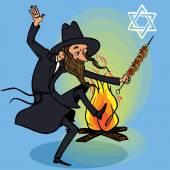 快乐的滞后 Baomer。犹太节日贺卡。矢量 — 图库矢量图片