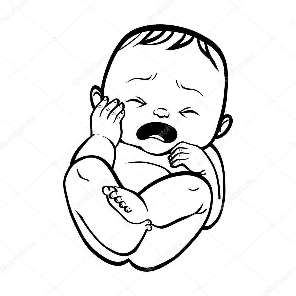 Newborn little baby crying. Vector illustration islated ...