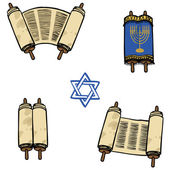 Torah. Old scrolls in different forms. Vector illustration — Stock Vector