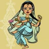 Indian woman. vector illustration — Vecteur