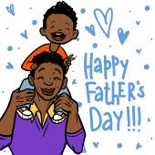 Funny cartoon fathers day card. vector illustration — Cтоковый вектор
