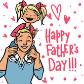Funny cartoon fathers day card. vector illustration — Stockvektor