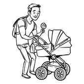 Funny cartoon father with baby stroller. Vector illustration — Stock Vector