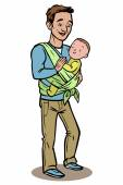 Dad holding his baby in a sling. vector illustration — Stock Vector