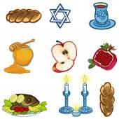 Symbols of Rosh Hashanah (Jewish New year). vector illustration — Stock Vector