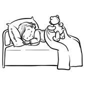 Funny vector cartoon sleeping baby — Stock Vector