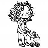 Funny cute little girl with dolls stroller — Stock Vector