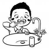 Funny cartoon boy brushing his teeth. vector illustration — Stock Vector