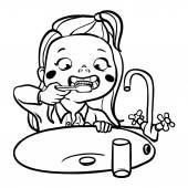 Funny cartoon girl  brushing her teeth. vector illustration — Stock Vector