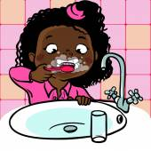 Funny cartoon girl  brushing her teeth. vector illustration — Stock Vector