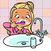 Rolig tecknad flicka borsta hennes tänder. vektor illustration — Stockvektor