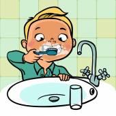 Rolig tecknad pojke borsta hans tänder. vektor illustration — Stockvektor