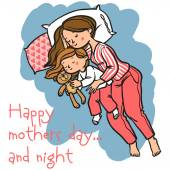 Funny cartoon mothers day card. vector illustration — Stock Vector