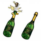 Vector set of  champagne bottles with glasses and Champagne buck — Stock Vector