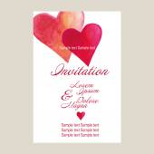 Wedding invitation card suite with hearts — Stock Vector