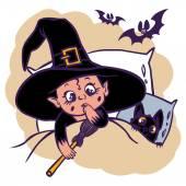Engraçado dos desenhos animados bruxinha e seu gato — Vetor de Stock
