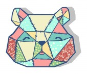 Bear patchwork applique — Stok Vektör