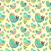 Pattern with colorful birds — Stock Vector