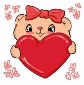 赤いハートとかわいいクマさん — ストックベクタ