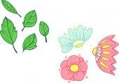 Цветы и листья установлены — Cтоковый вектор
