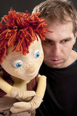 Portrait of a actor and puppet — Stock Photo