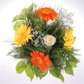 Bright bouquet, close-up. Rose and Gerbera flowers — Stock Photo