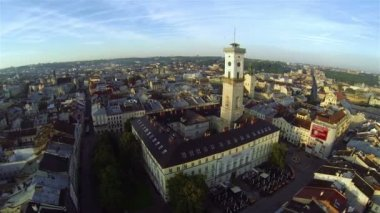 Lviv Ukraine Cityhall Aerial View — Stock Video