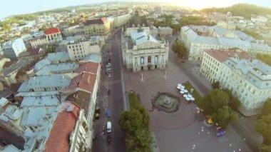 Lviv Opera Theatre - Aerial View — Vídeo de Stock