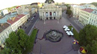 Lviv Opera Theatre - Aerial View — Stock Video