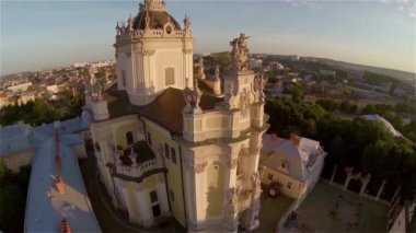 St George Church Lviv - Aerial View — Vídeo de Stock