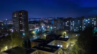 Night City Timelapse — Stock Video