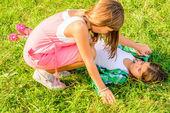 Two little girls  fighting  — Foto de Stock
